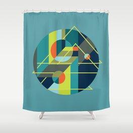 Scenarios, No. 1, on Blue Shower Curtain