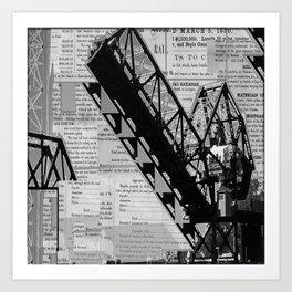 Rail Bridge in Black and White Art Print