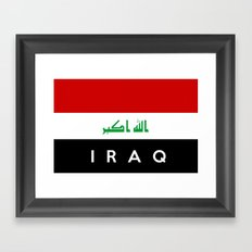 iraq country flag name text Framed Art Print