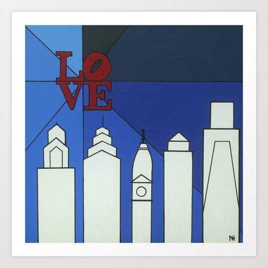 blue LOVE shine Art Print