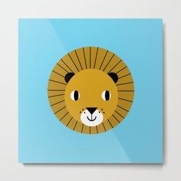 Lion face cute decor for kids boys and girls nursery kids room Metal Print