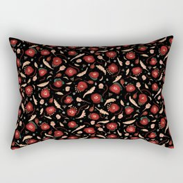 Walk in a Poppy Field, Black & Green Watercolor amongst Red Poppies , Flowers, Leaves & Seedpods Rectangular Pillow