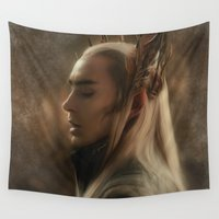 smaug Wall Tapestries featuring Thranduil by Andi Robinson