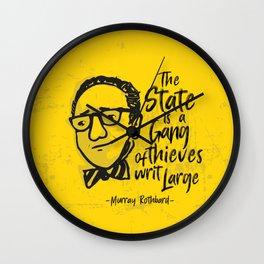 Murray Rothbard Illustration Wall Clock