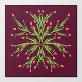 Burgundy and tulips Canvas Print
