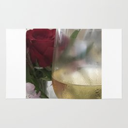 Wine and Single Red Rose Rug