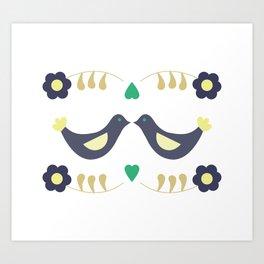 Retro bird love Art Print