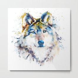 Wolf Face Watercolor Portrait Metal Print