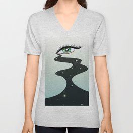 The eye cries with a starry sky Unisex V-Neck