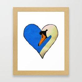 Swan Heart Framed Art Print
