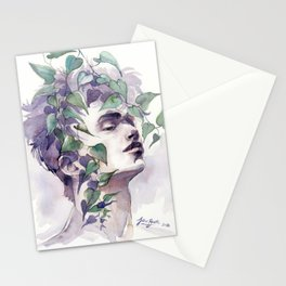 A man with ivy, watercolor portrait Stationery Cards