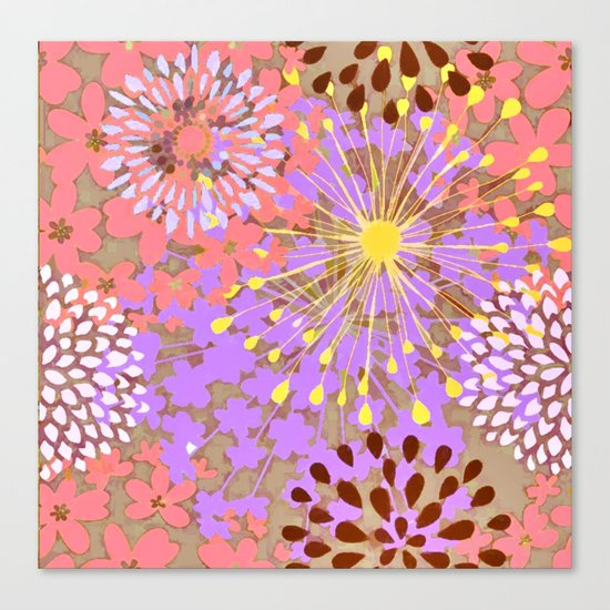Bright Floral Explosion Abstract Canvas Print