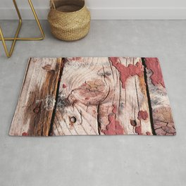 Grunge Wooden Planks Painted Red Long Time Ago Rug