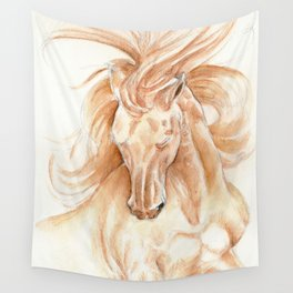 Golden Lusitano Stallion Study In Watercolor Wall Tapestry