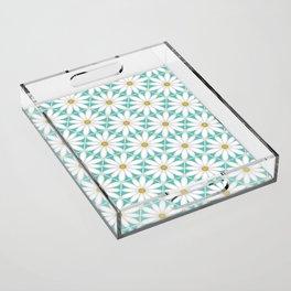 Daisy Hex - Turquoise Acrylic Tray
