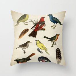 Forest Colorful Birds Chart Throw Pillow