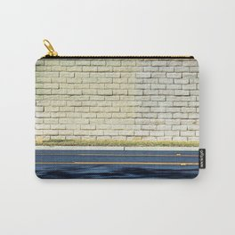 road with shadows and brick wall background Carry-All Pouch