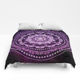 Purple Glowing Soul Mandala Comforters