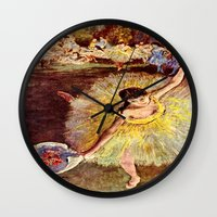 degas Wall Clocks featuring Dancer with Bouquet by PureVintageLove