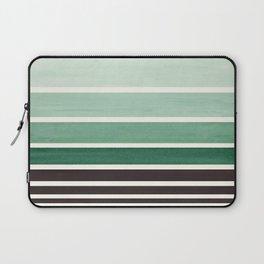Deep Green Minimalist Watercolor Mid Century Staggered Stripes Rothko Color Block Geometric Art Laptop Sleeve