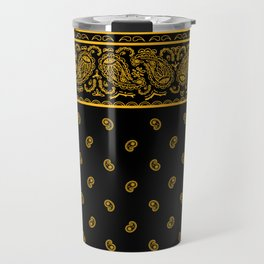 Classic Black and Gold Bandana Travel Mug