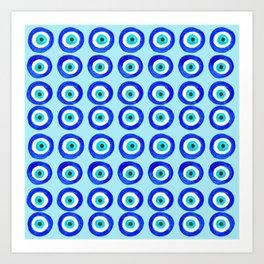 Evil Eye Amulet Talisman - on turquoise Art Print