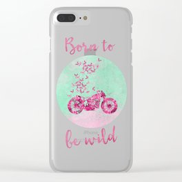 Artsy colorful flower power motorcycle Clear iPhone Case