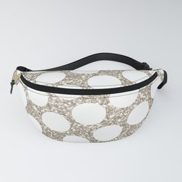Silver Glitter and White Polka Dot Fanny Pack