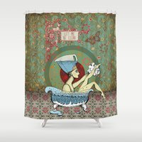 obama Shower Curtains featuring Nefertiti or Let me be clear by KRNago