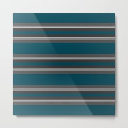 Striped turquoise and gray background Metal Print