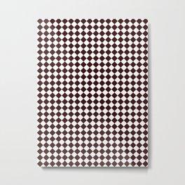 Small Diamonds - White and Dark Sienna Brown Metal Print