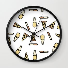 PIZZA, BEER, CIGARETTES Wall Clock