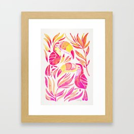 Tropical Toucans – Pink & Melon Ombré Framed Art Print