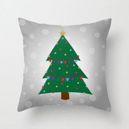 Christmas Tree - Silver Throw Pillow