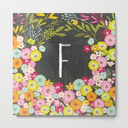F botanical monogram. Letter initial with colorful flowers on a chalkboard background Metal Print