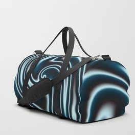 Blue and Black Licorice Ribbon Candy Fractal Duffle Bag