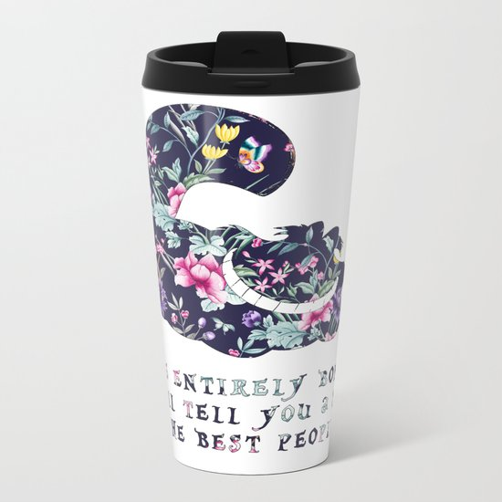 Alice floral designs - Cheshire cat entirely bonkers Metal Travel Mug