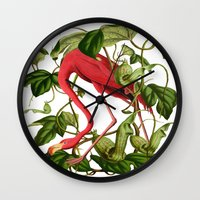 flamingo Wall Clocks featuring Flamingo by Fifikoussout