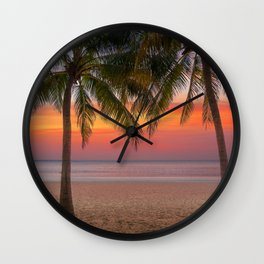 Tropical beach at sunset Wall Clock