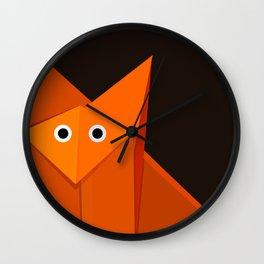 Dark Geometric Cute Origami Fox Wall Clock