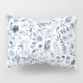 Watercolor florals in blue Pillow Sham