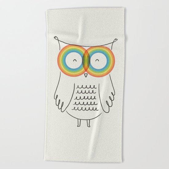 RainbOwl Beach Towel