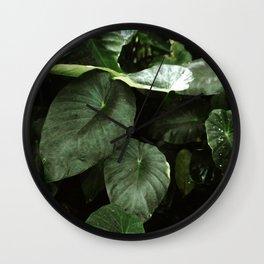 Retro Tropical Green Foliage Leaves Wall Clock