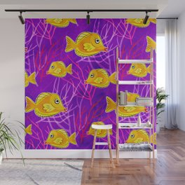 Yellow Tang in Purple Coral Wall Mural