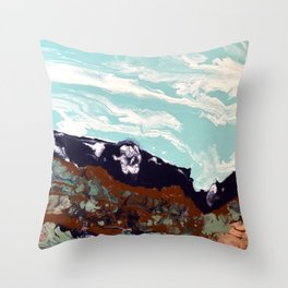 Rugged terrain under a windswept sky Throw Pillow