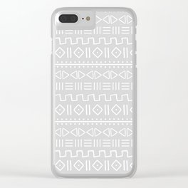 mudcloth white on grey Clear iPhone Case