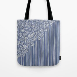 The Unraveling of Paisley Lace (in blue and cream) Tote Bag