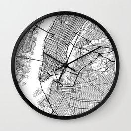 New York Map White Wall Clock