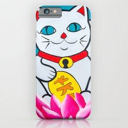 Maneki neko Lucky cat, hand painted iPhone Case