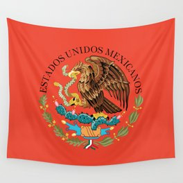 Mexican National Coat of Arms & Seal on Adobe Red Wall Tapestry